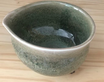 Green bowl with spout