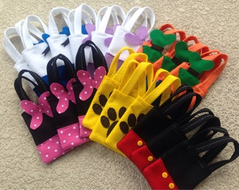MICKEY MOUSE PARTY/ Felt party bags/ set of 6 party favor/ mickey mouse supplies/Minnie/daisy/donald/goffie & pluto