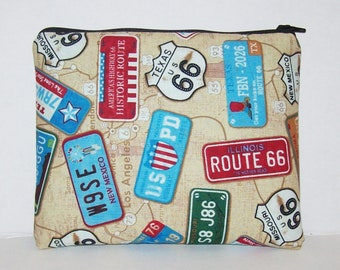 """Pipe Pouch, Route 66, Travel Bag, Pipe Case, Glass Pipes, Padded Pipe Pouch, Stoner Gifts, Travel Gifts, Smoke Accessory, 7.5"""" x 6"""" X LARGE"""