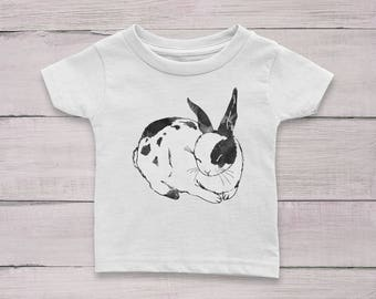 Sleeping Bunny Rabbit #3 Watercolor Baby Girl or Boy 100% Cotton Jersey T-shirt