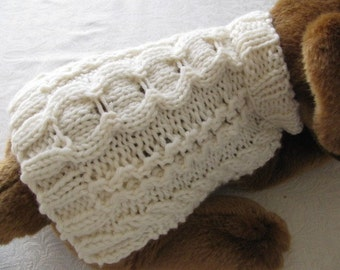 Dog sweater knitting pattern Aran Stepping Stones Design for tea cup and other small doggies
