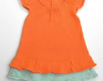 Baby girl clothes, baby girl gift, baby girl outfits, baby girl dress, baby knit dress, knit sundress, orange dress, flounce dress
