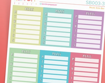 Meal Planning Stickers, Meal Planner Stickers, Meal Planning Sidebar Stickers, Meal Plan Sidebar - SB003