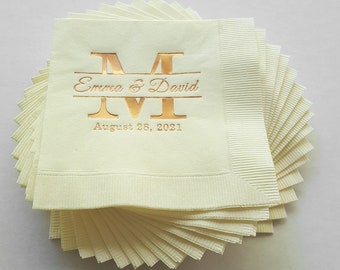 Napkin Sample, Ecru Wedding Napkin With Copper Foil Imprint Monogam, Names and Date | This Listing Is For One Mailed Sample As Shown