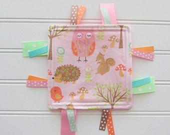 Woodland Crinkle Ribbon Toy, Baby Girl Crinkle Toy, Baby Sensory Ribbon Toy, Pink Woodland Owls, Hedgehog, Baby Girl Shower Gift