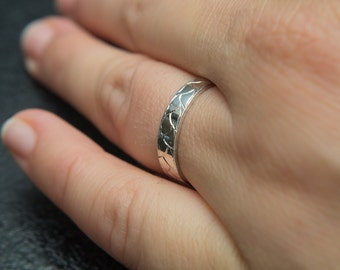 4mm Wheat Pattern Hand Engraved Ring Gold Engraved Ring Gold Band, Feminine, Milgrain Ring, Antique Engagement