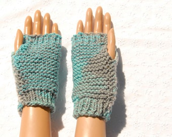 Reversible Fingerless Gloves and Wristwarmers, Hand Knit Texting Gloves, Gray and Teal