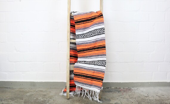 """Large traditional woven blanket from Mexico 180 x 130 cm Orange """"Falsa"""""""