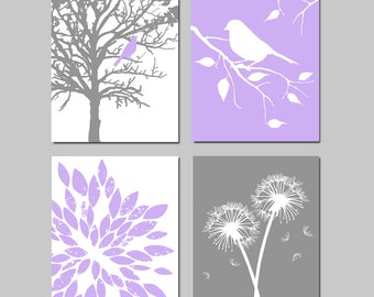 Baby Girl Nursery Art Quad - Bird in a Tree, Bird on a Branch, Dandelions, Abstract Floral - Set of Four 8x10 Prints - CHOOSE YOUR COLORS