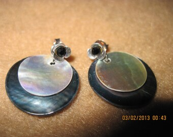 Sterling Silver Swarvoski Black Crystal Flower Studs w/ Black & Silver Shells... 2 in 1 Earrings...one of a kind..1351h