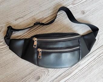 Vegan leather fanny pack, Hip bag, Bum bag, Festival bag, Waist bag, Belt bag, Black faux leather pouch, travel purse