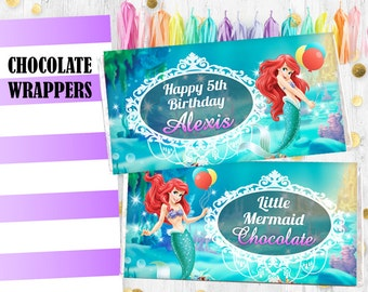 Little mermaid Ariel Chocolate bar wrappers Hershey bar wrappers wraps