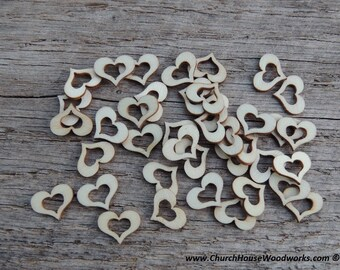 """50 qty 1/2"""" Wood Hollow Hearts, Wood Confetti Engraved Love Hearts- Rustic Wedding Decor- Table Decorations- Small Wooden Hearts"""