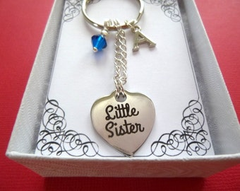 Little Sister Laser Engraved Charm Key Chain, Personalized Little Sister Key Chain, Little Sister Key Chain, Birthstone Sister Keyring,  K27