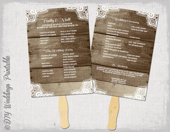Rustic Wedding Program template Fan wedding programs \