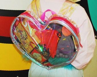 Mscheap handmade led light hologram PVC backpack