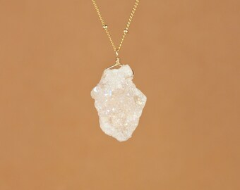 Angel aura quartz - druzy necklace - raw crystal necklace on a 14k gold vermeil or sterling silver chain