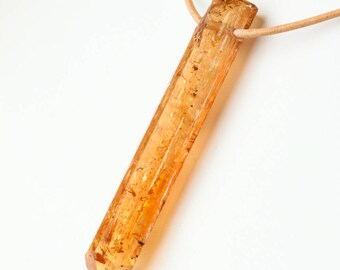 Very Large Natural Imperial Topaz Crystal Pendant