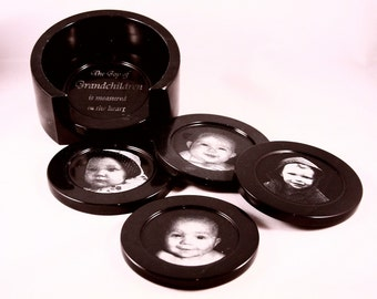 Personalized Black Marble Coaster Set w/ Caddy - Laser Engraved