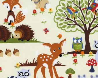 Fabric by the Yard- Woodland in white from Timeless Treasures