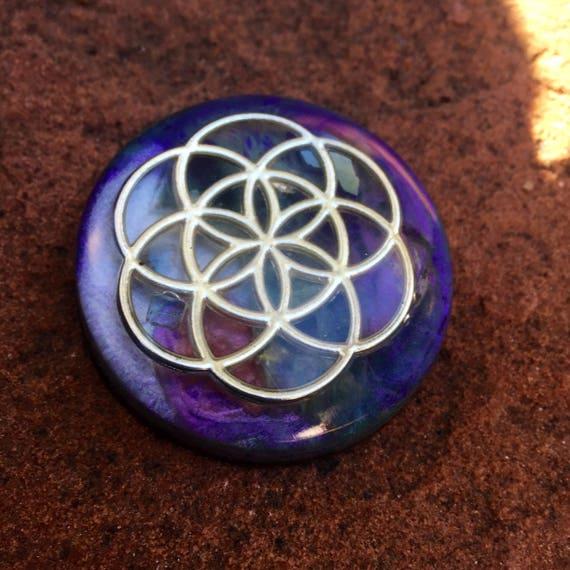 Purple Stardust Flower of Life Orgone Energy Generator- Orgone Tower Buster- Flourite Negative Energy Clenasing Orgone