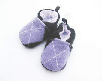 Sale Small Cashmere Wool Argyle with Lavender / All fabric Soft Sole Baby Shoes / Made to Order / Babies