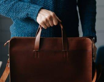 Leather Bag, Men's Leather Bag, Leather Briefcase, Leather Shoulder Bag, Men's Bag, Messenger Bag, Laptop Bag, Business Bag,  Gift