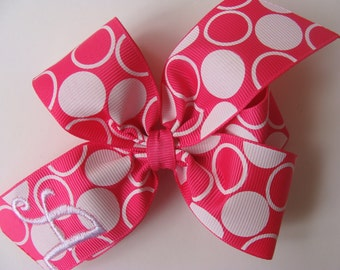 Customized Bows, Any Initial, Monogram Hairbows, Hair Ribbon, Boutique Custom, Girls Lettering, Shocking Pink, Polka Dots, Birthday Party