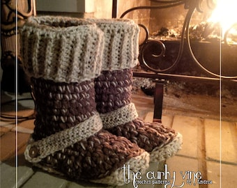 Crochet Boot Slippers Pattern