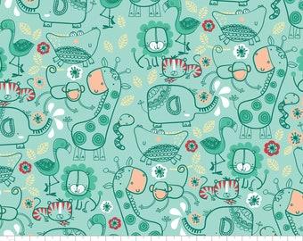 CLEARANCE - Camelot Fabrics - Jungly by Andrea Turk of Cinnamon Joe Studio - Aqua Jungle Friends - 9140501-1