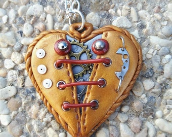 Gold polymer clay steampunk Heart Necklace.