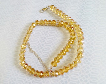 Vintage Necklace, Golden Yellow Faceted Glass Beads, Amazing Sparkle, Adjustable Length, Never Worn, Circa 1970s, Includes Gift Box
