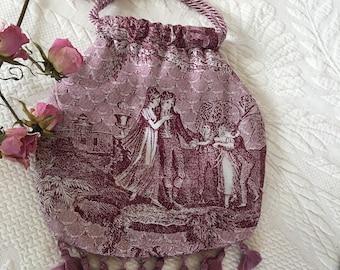 Handmade Rose and Maroon Toile Regency Purse. Round Drawstring Cotton Fabric Handbag for Costuming. Rose Fringe on bottom. Maroon Lining.