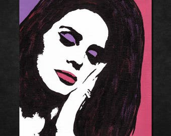 "Original LANA DEL REY Pop Art Painting - New, 8"" X 10""- Hand-painted artwork. Lizzy Grant. Ray. Ultraviolence Lust For Life Honeymoon Singer"