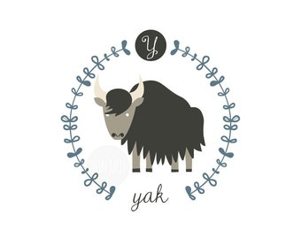 Y is for Yak, letter print, nursery decor, instant download birth print, cute name print, bunting, diy name banner, bison