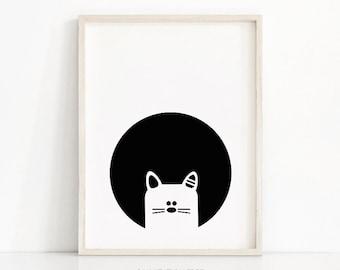 Cat Nursery Wall Art, Black White Nursery Print, Kids Art, Instant Download Printable Nursery Art, Kids Print, Animal Print, Monochrome Baby