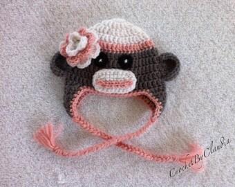 Crochet Baby Girl Sock Monkey Beanie/ Sock Monkey/ Sock Monkey Beanie/ Handmade/Made To Order
