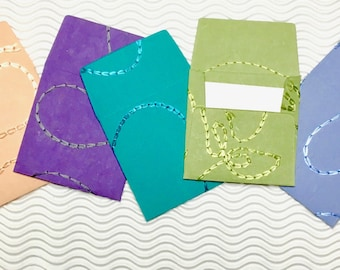 21 teeny tiny envelopes in handmade papers miniature mini note sets square stationery party favors weddings guest book table numbers