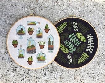 Terrarium and Ferns - Modern cross stitch patterns PDFs - Instant download