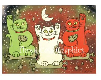 The Nekos of Well Being - Choose from ACEO Print, Note Card with Stickers, or Art Print