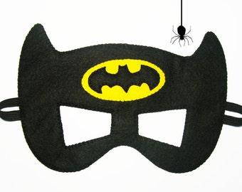 Batman felt mask (2 years - adult size) - Black Yellow - Superhero childrens costume boy Birthday party gift soft Dress up play accessory