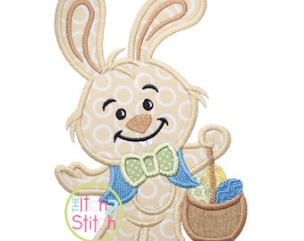 Bunny with Basket Applique,  Sizes 4x4, 5x7, and 6x10,  Instant Downloads now available
