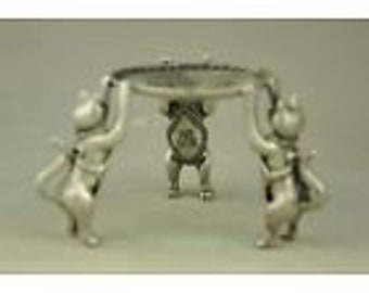 Three Dancing Cats!  Chinese Good Luck Basin, Candle Stand, Jewelry Holder, Antique