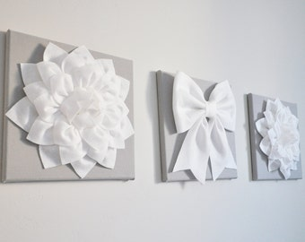 White Grey Nursery Gray Home Decor Flower Wall Art Baby Shower Decor - Nursery Decor - 12X12 Canvas Set, Dahlia Flowers and Bow White Silver