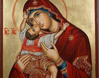 Virgin Mary Kardiotissa Theotokos Mother of God Hand-Painted Greek Byzantine Orthodox Icon on Wood 35 x 24cm
