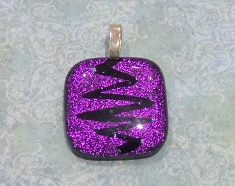 Purple Pendant, Zig Zag Line, Handmade Fused Glass Pendant, Hand Etched Jewelry, Purple Jewelry - Temperature is Rising - 3195 -2