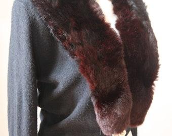 Vintage 1950's Fur Collar Sweater-TURBO Brand-Rhinestone Detail-Mink Fur Sweater
