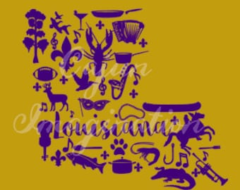 Louisiana Silhouette Cut File and Printable SVG- Commercial License Included