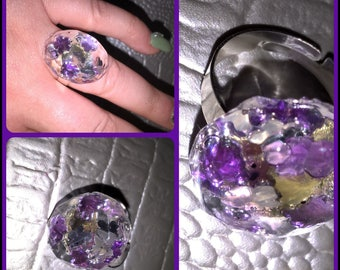 Adjustable ring, oval, beveled resin jewelry