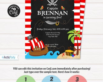Pirate Invitation - Pirate Party Invitations - Pirate Birthday Party Invites - INSTANT ACCESS - Edit NOW with Corjl.com in your browser!
